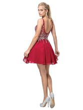 Dancing Queen DQ 3129 - Beaded Bodice with Chiffon Skirt and Sheer Beaded back - Diggz Prom