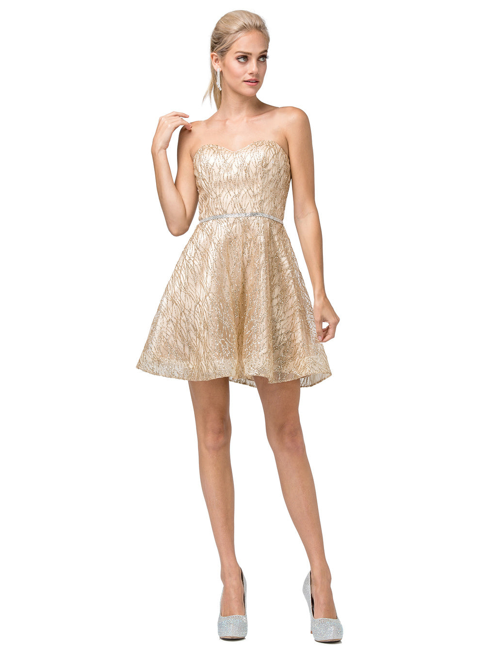 DQ 3136 - Strapless Sparkling Glitter Homecoming Dress with Rhinestone Belt & Corset Back