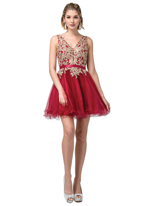 DQ 3150 - Embroidered Top V Neck Homecoming Dress with Belt and Mesh Bottom