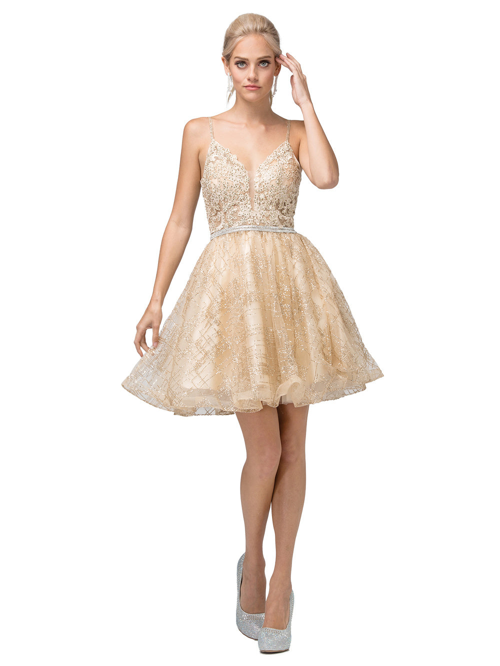 DQ 3152 - Short Glitter Homecoming Dress with Lace Applique on Bodice and Beaded Belt - Diggz Prom