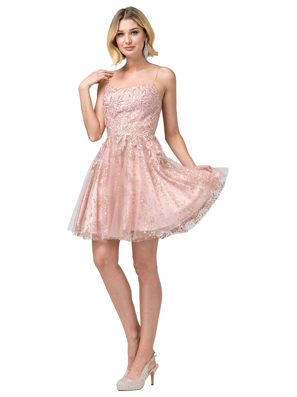 Dancing Queen DQ 3158 - Floral Embroidered Homecoming Dress with Glittery Tulle Skirt - Diggz Prom
