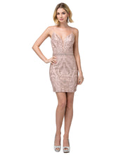 Dancing Queen DQ 3161 - Short Fitted Homecoming Dress with Plunging V-Neck & Rhinestone Belt - Diggz Prom