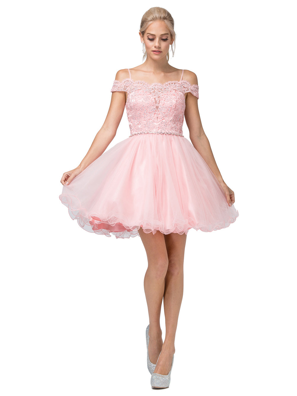 Dancing Queen DQ 3167 - Off the Shoulder Lace top Homecoming Dress with Tulle Skirt & Rhinestone Belt - Diggz Prom