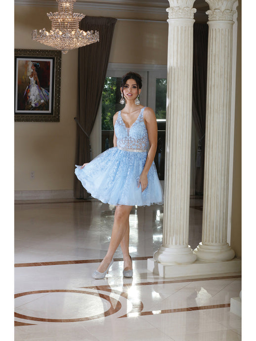 Dancing Queen DQ 3233 - Short Party Gown with Sheer Floral Embroidered Bodice Tulle Skirt & Beaded Belt - Diggz Prom