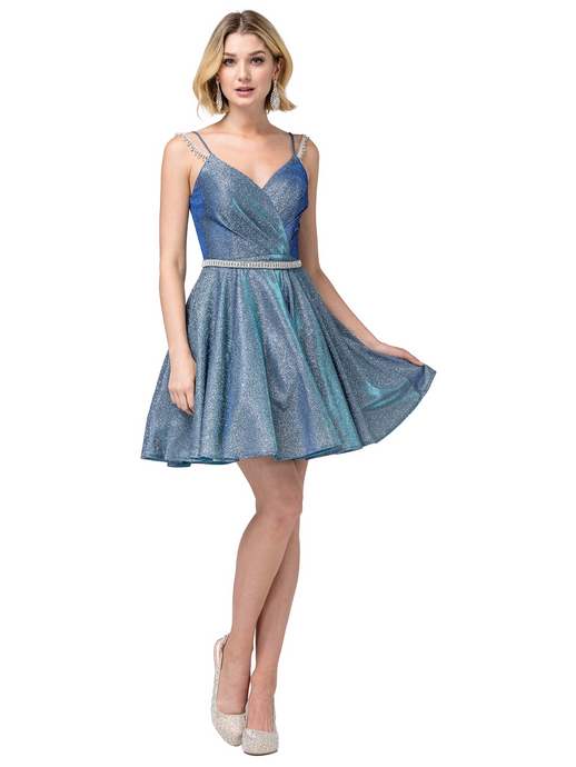 DQ 3173 - Short Homecoming Dress with Rhinestone Accented Spaghetti Straps & Corset Back - Diggz Prom
