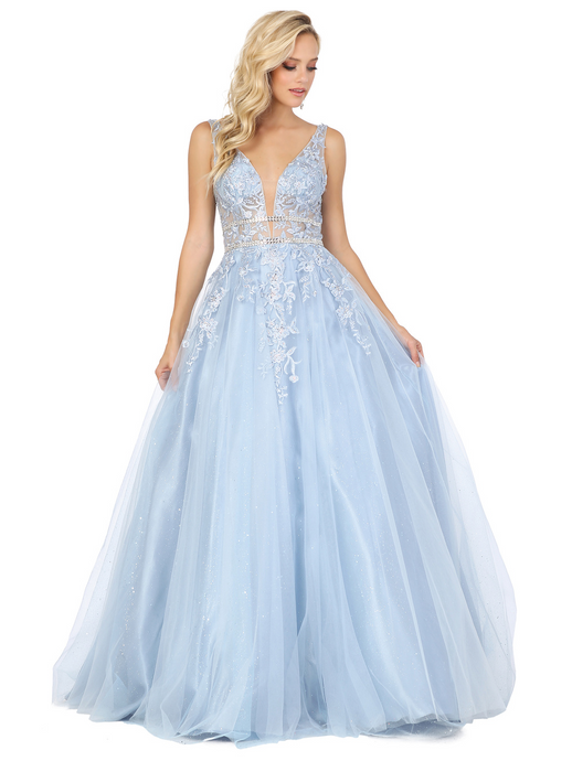 Dancing Queen DQ 4041  - A-Line Prom Gown with Layered Sparkle Tulle Lace Embellished Bodice & Bead Accent Belts - Diggz Prom