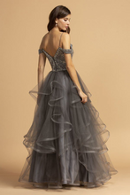 AS 2161 - Off the Shoulder A-Line Prom Gown with Bead Embellished Bodice & Layered Ruffle Skirt - Diggz Prom