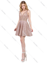Mayqueen Size Chart E DQ 3086 - A-Line Homecoming Dress with V-Neck & Rhinestone Accents - Diggz Prom