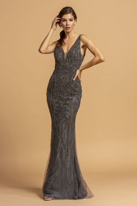 Aspeed Size Chart A AS 2158 - Fully Beaded Fit & Flare Prom Gown with Plunging V-Neck & Sheer Sides - Diggz Prom
