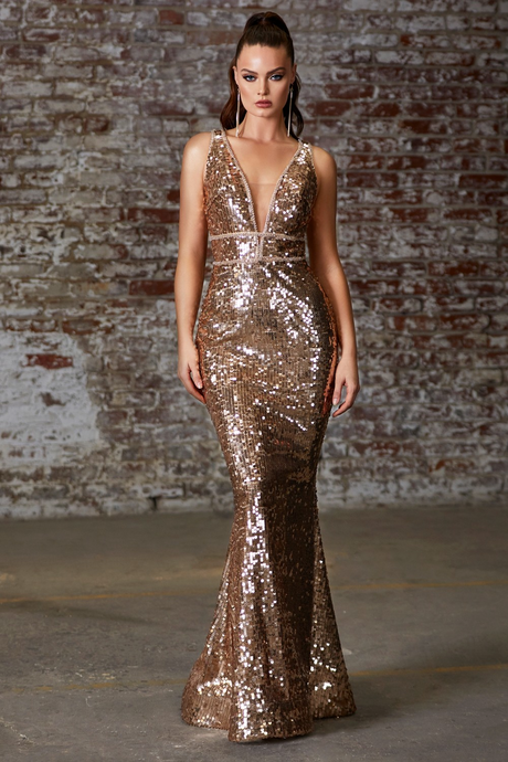 Cinderella Divine Chart I CD J8781 - Gold Sequin Fit & Flare with Plunging V-Neck Beaded Belt Accents & Strappy Open Back - Diggz Prom