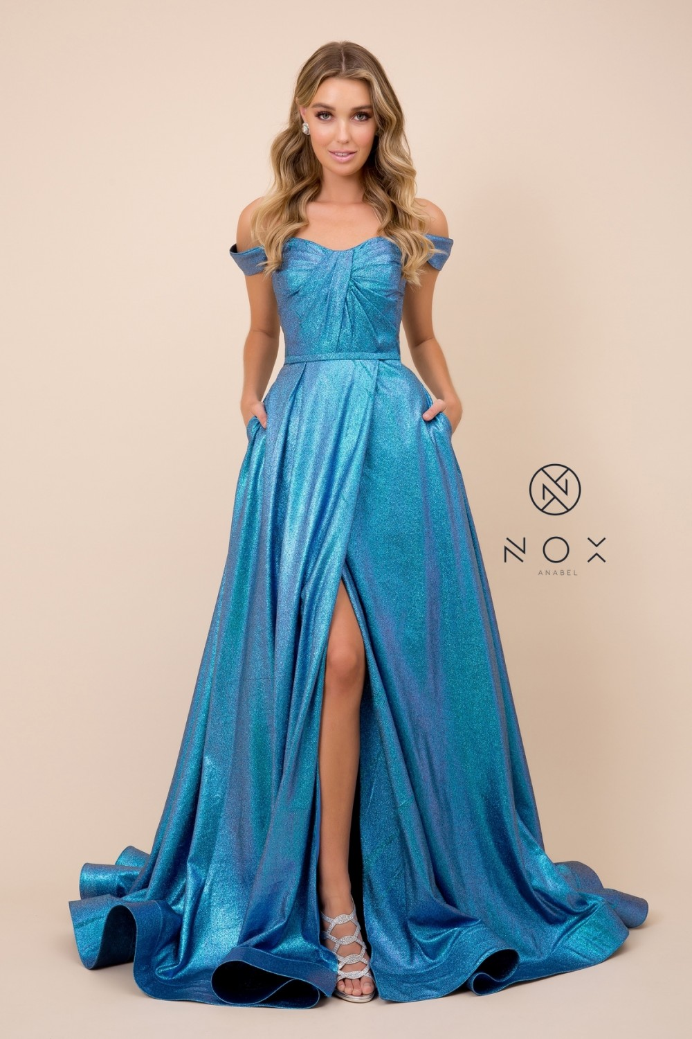 Nox N E366 - Off the Shoulder A-Line with Pleated Bodice & Lace Up Corset Back - Diggz Prom