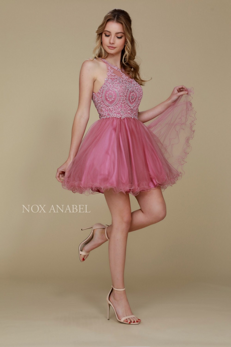 N B652 - Lace-Applique High-Neck Homecoming Dress