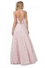 AS 2373 - Embroidered A-Line Gown with V-Neck Spaghetti Straps & Open Lace Up Corset Back - Diggz Prom