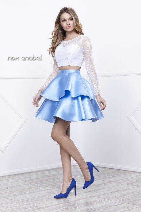 N 6290 -Short Two-Piece Homecoming Dress with Long-Sleeved Lace Top & Layered Satin Skirt - Diggz Prom