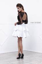 Nox N 6290 -Short Two-Piece Homecoming Long-Sleeved Lace Gown with Layered Satin Skirt - Diggz Prom