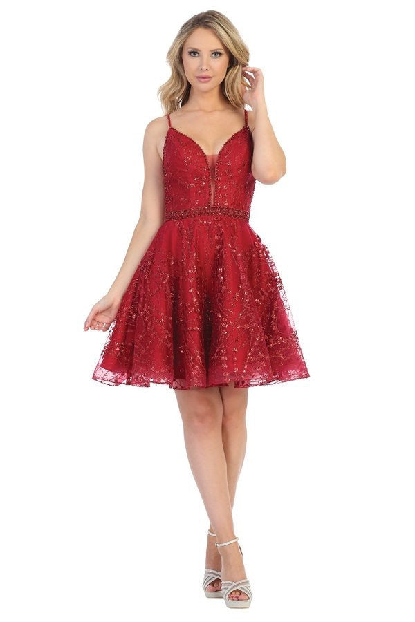 LF 6225 - Short Glittery Homecoming Dress with Spaghetti Straps & Corset - Diggz Prom