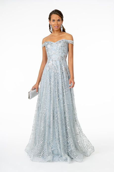 GLS GL 2887 - Off the Shoulder A-Line Prom Gown with Glitter Sequin & Floral Embroidery - Diggz Prom