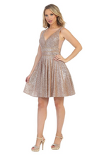Lets Size Chart C LF 6219 - Short A-Line Glittery Homecoming Dress with Rhinestone Belt - Diggz Prom