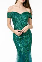 GLS GL 1823 - Off the Shoulder Fit & Flare Glitter Embellished Sweetheart Neck & Lace Up Corset Back - Diggz Prom