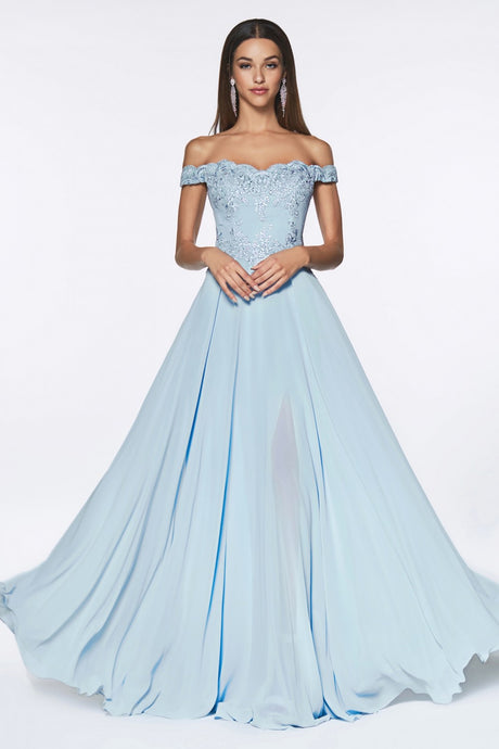 CD 7258 - Off the Shoulder A-Line Lace Bodice Chiffon Skirt & Slit