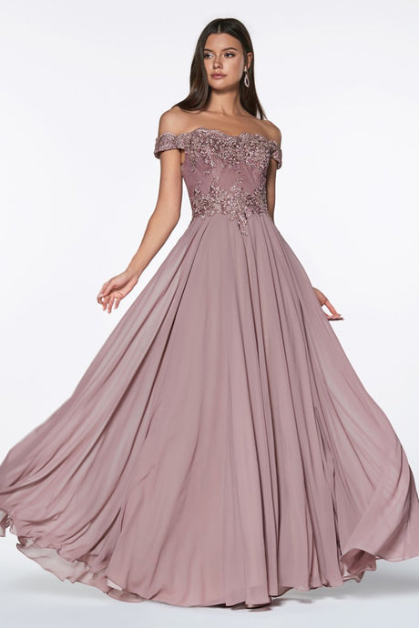 Cinderella Divine Chart I CD 7258 - A-Line Off the Shoulder Chiffon Skirt Gown - Diggz Prom