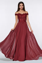 Cinderella Divine Chart I CD 7258 - Plus Off the Shoulder A-Line Lace Bodice Chiffon Skirt & Slit - Diggz Prom