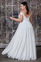 CD 7258W - Off the Shoulder Chiffon A-Line Wedding Gown with Lace Bodice & Leg Slit