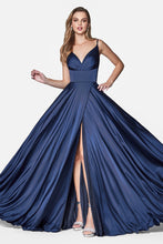 Cinderella Divine Chart I CD 7472 A-Line Satin Gown with Pleated Bodice & High Wrap Slit - Diggz Prom