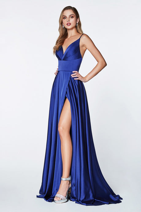 CD 7472 P - Plus Size A-Line Satin Prom Gown with V-Neck Pleated Bodice & Leg Slit - Diggz Prom