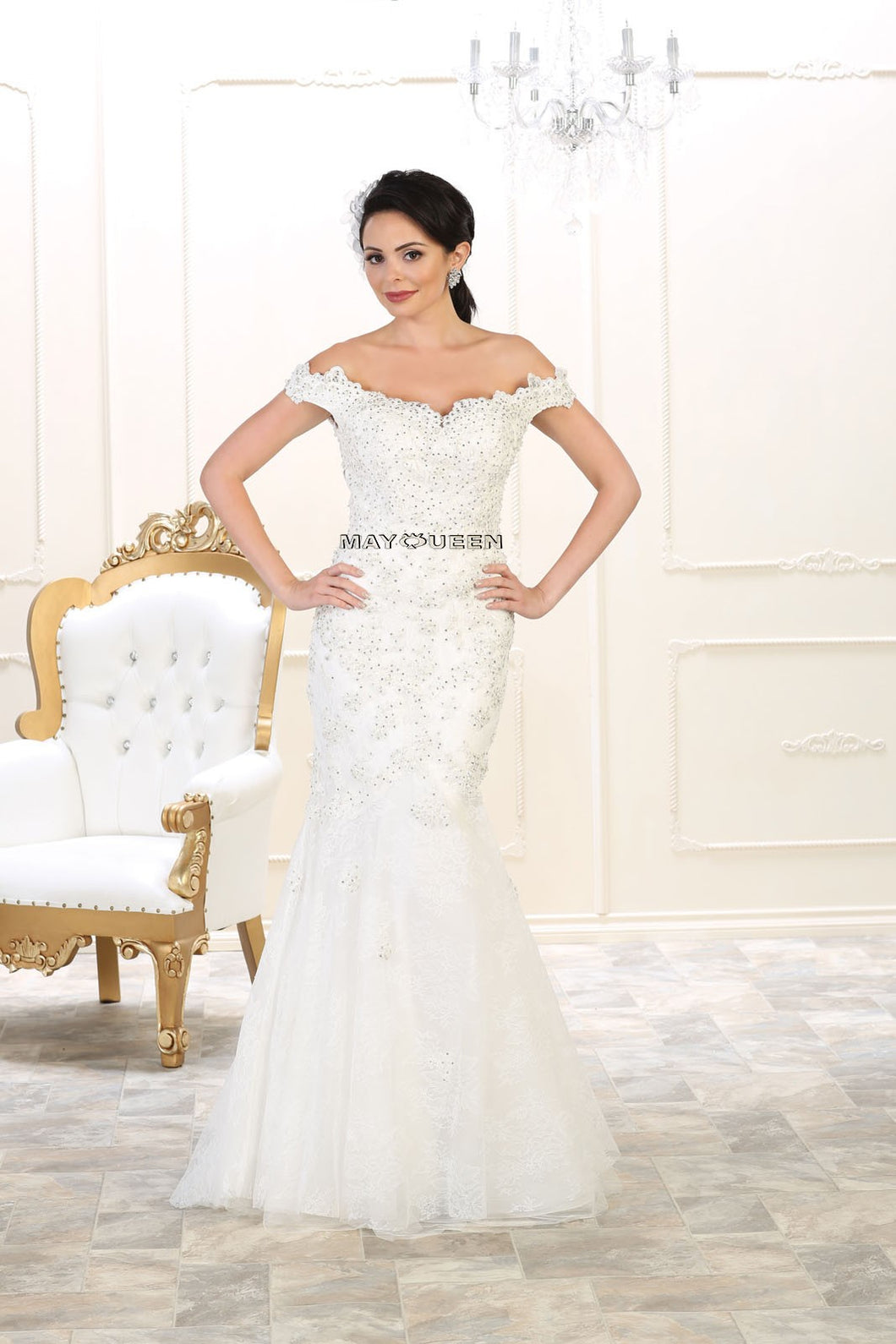 Mayqueen Size Chart E MQ 7493 - Off the Shoulders Beaded Lace Applique Mermaid with Trumpet Skirt - Diggz Prom