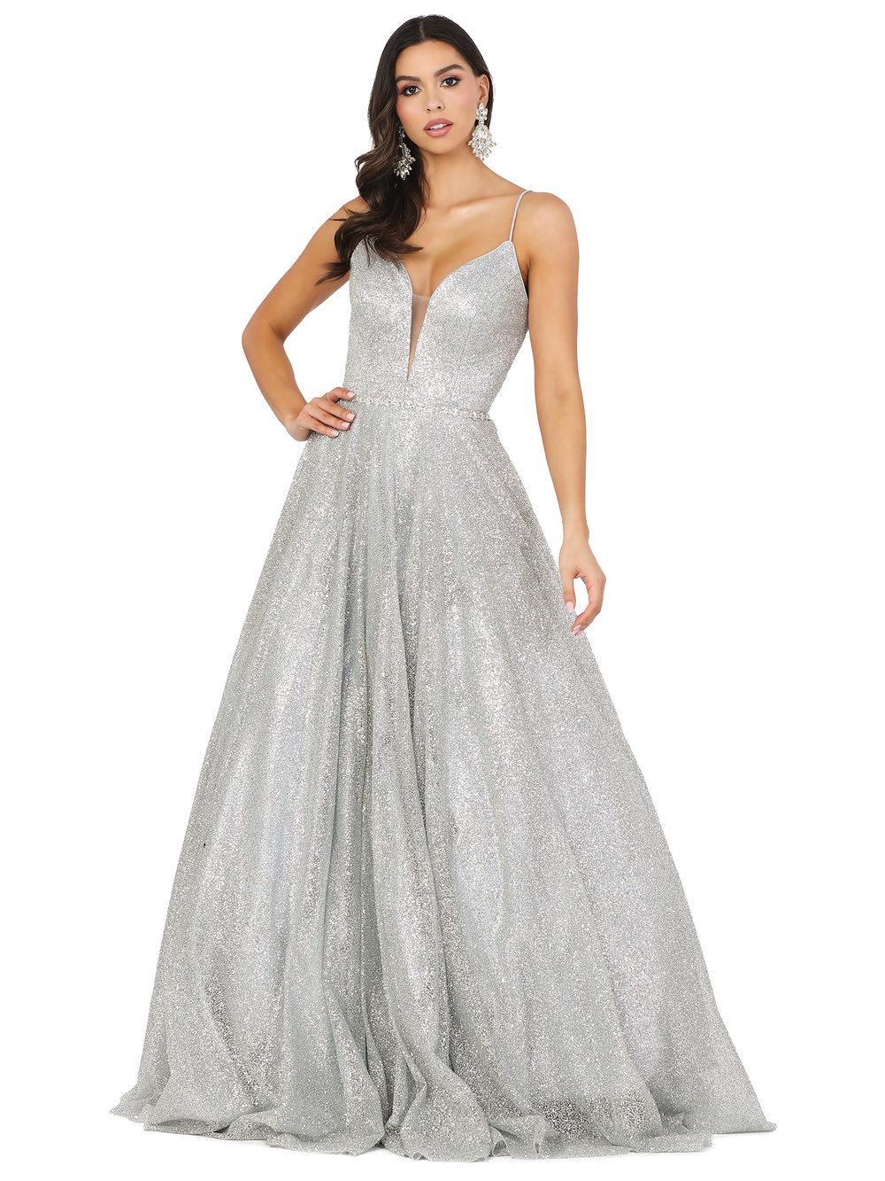 DQ 4086 - Full Sequin Ball Gown with V-Neck Open Spaghetti Strap Corset Beaded Belt & Pockets - Diggz Prom