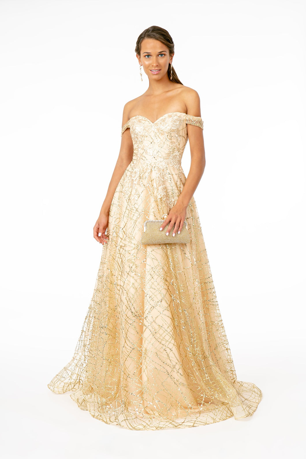 GL 2887 - Floral Embroidered Off the Shoulder A-Line Prom Gown with Glitter & Sequin - Diggz Prom