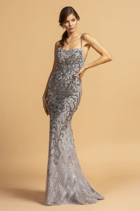 Aspeed Size Chart A AS 2229 - Beaded Fit & Flare Prom Gown with Straight Neck Spaghetti Straps & Open Back - Diggz Prom