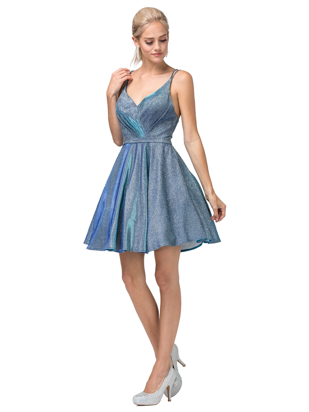Dancing Queen DQ 3183 - Glitter Metallic Spaghetti Strap Homecoming Dress - Diggz Prom