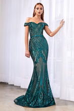 CD CB0039 - Off-the-Shoulder Gown with Geometric Sequin Detail & Sweetheart Neckline