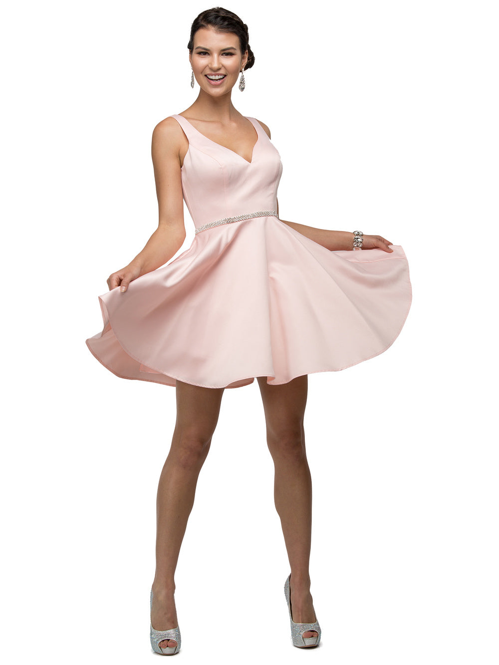 Dancing Queen DQ 9504 - Short Satin Homecoming Dress with V-Neck, Rhinestone Belt & Pockets - Diggz Prom
