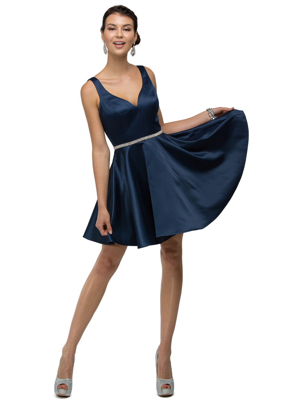 9f184e34ea ... Dancing Queen DQ 9504 - Short Circle Skirt V-Neck Homecoming Party Dress  - Diggz ...