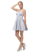 DQ 9504 - Short Satin Homecoming Dress with V-Neck, Rhinestone Belt & Pockets - Diggz Prom