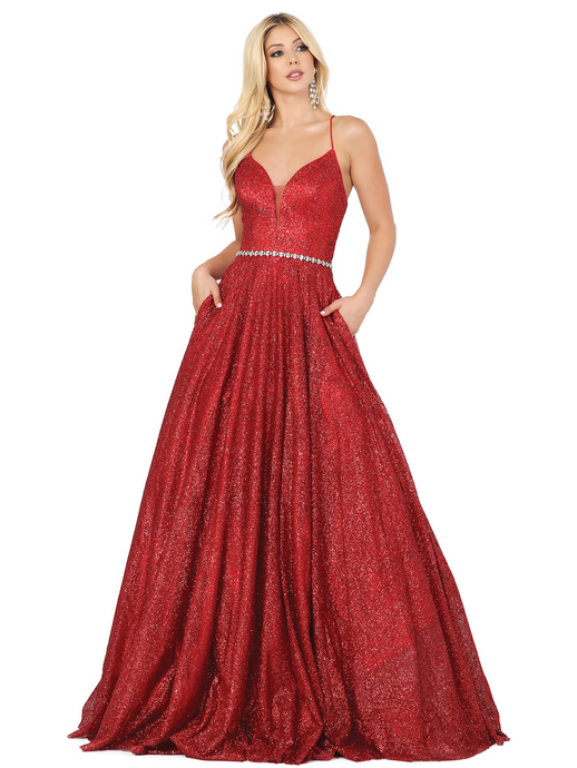 Dancing Queen DQ 4086 - Sequin A-Line Ballgown with Plunging V-Neck Spaghetti Strap Lace Up Corset & Beaded Belt - Diggz Prom