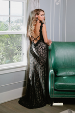 Nox N E374 - Black Lace over Nude Fit & Flare Prom Gown with Strappy Open Back & High Leg Slit - Diggz Prom
