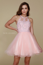 Nox N B652 - Short Homecoming Dress with Lace Appliqué High Neck & Tulle Skirt - Diggz Prom
