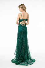 GLS GL 2938 - Deep V-Neck Spaghetti Strap fit & Flare Prom Gown with Lace Up Corset Back - Diggz Prom