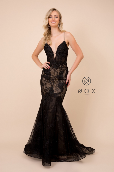 Nox N C306 - Lace Embellished Fit & Flare Prom Gown with Plunging V-Neck - Diggz Prom