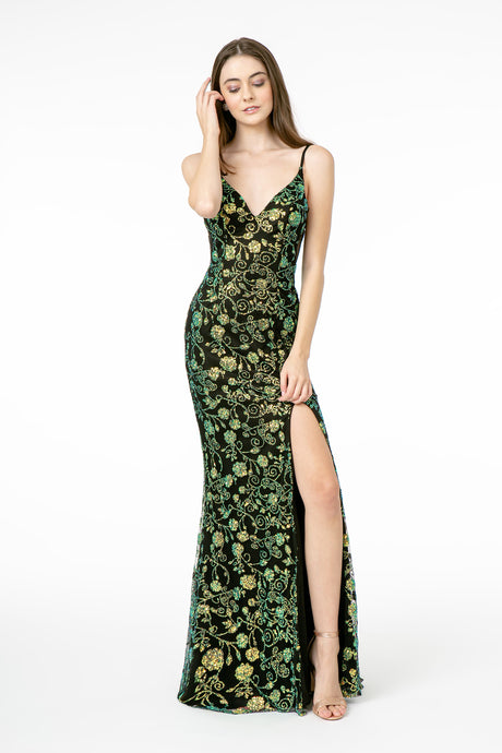 GL 1811 - Glitter Print Fitted Prom Gown with V Neckline and High Leg Slit