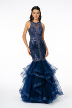 GL 1822 - Illusion Halter Mermaid Prom Gown with Beaded Glitter Body & Layered Tulle Skirt