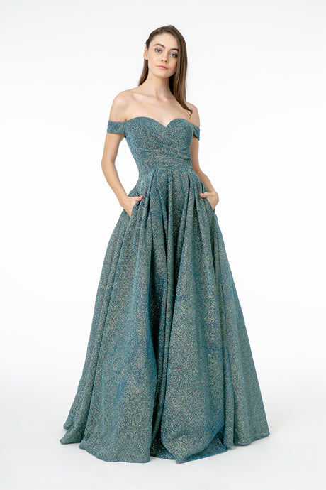 GL 1827 - Off the Shoulder Metallic Prom Gown with Rouched Bodice Sweet Heart Neck & Pockets