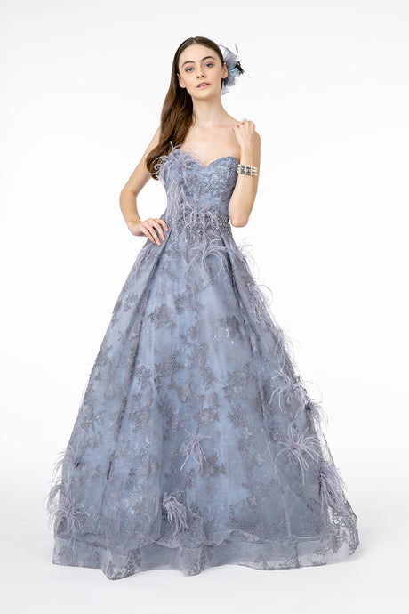 GL 1834 - Strapless Sweet Heart Ball Gown with Beading Feathers & Lace Embellishments