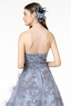 GL 1834 - Strapless Sweet Heart Ball Gown with Beading Feathers & Lace Embellishments - Diggz Prom