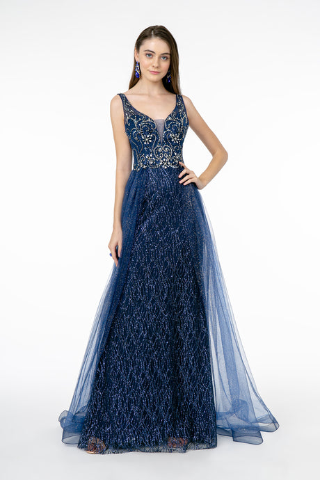 GL 1840 - A-Line Prom Gown with V-Neck Beaded Bodice & Glitter Tulle Skirt