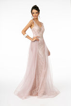 GL 1840 - A-Line Prom Gown with V-Neck Beaded Bodice & Glitter Tulle Skirt - Diggz Prom